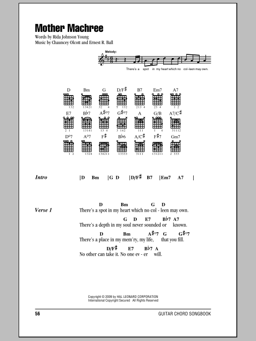 Mother Machree Sheet Music