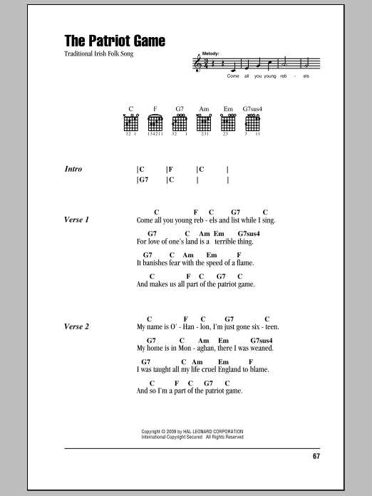 The Patriot Game Sheet Music