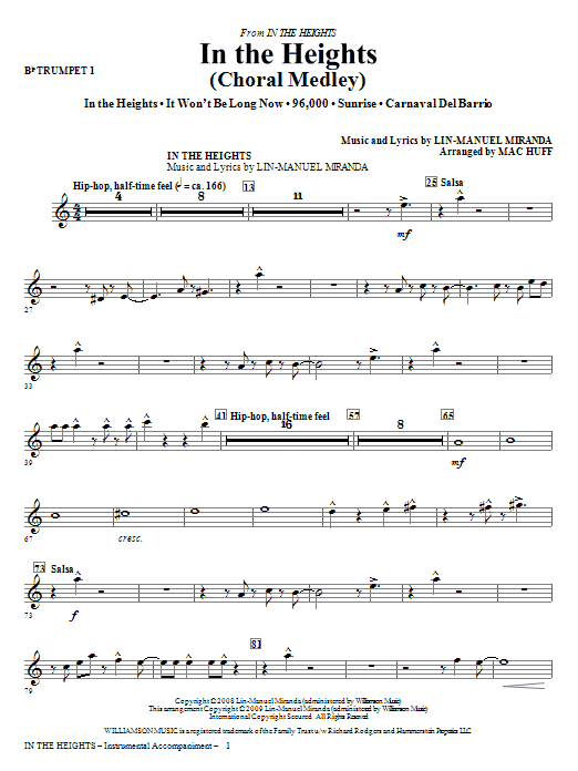 In The Heights (Choral Medley) (complete set of parts) sheet music for orchestra/band (chamber ensemble) by Lin-Manuel Miranda and Mac Huff. Score Image Preview.