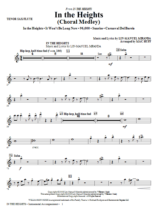 In The Heights (Choral Medley) - Tenor Sax/Flute Sheet Music