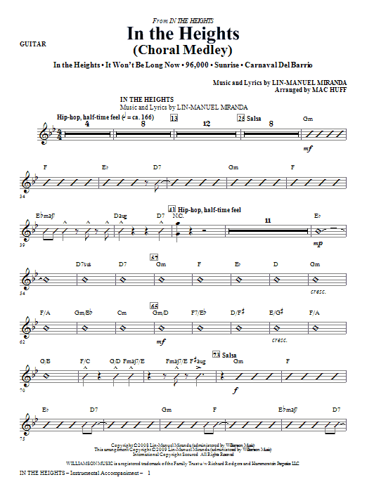 In The Heights (Choral Medley) - Guitar Sheet Music