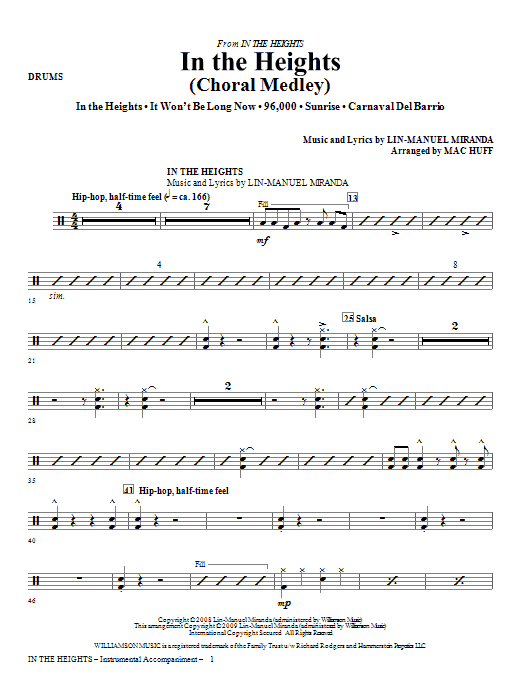 In The Heights (Choral Medley) - Drums Sheet Music