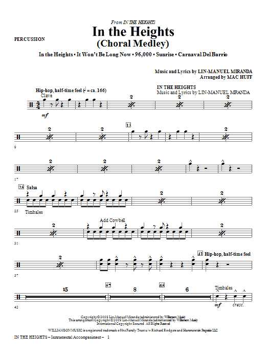 In The Heights (Choral Medley) - Percussion Sheet Music