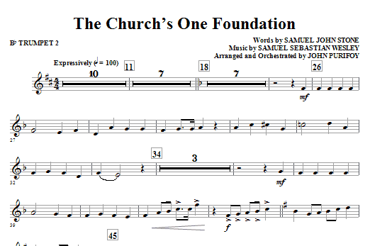 The Church's One Foundation - Bb Trumpet 2 Sheet Music