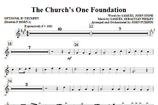 The Church's One Foundation - Opt. Trumpet (Doubles Horn 1) Sheet Music