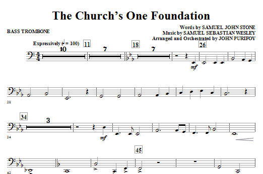 The Church's One Foundation - Bass Trombone Sheet Music