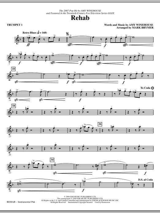 Rehab (complete set of parts) sheet music for orchestra/band (chamber ensemble) by Amy Winehouse, Glee Cast, Mark Brymer and Miscellaneous. Score Image Preview.