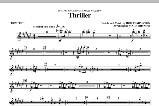 Thriller (complete set of parts) sheet music for orchestra/band (chamber ensemble) by Rod Temperton, Mark Brymer and Michael Jackson. Score Image Preview.