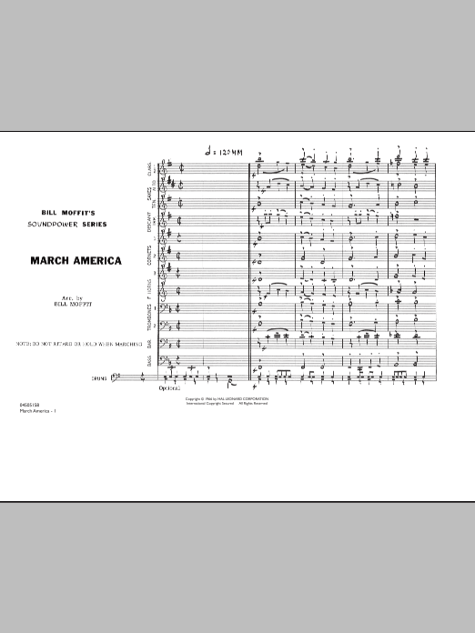 March America (COMPLETE) sheet music for marching band by Bill Moffit. Score Image Preview.