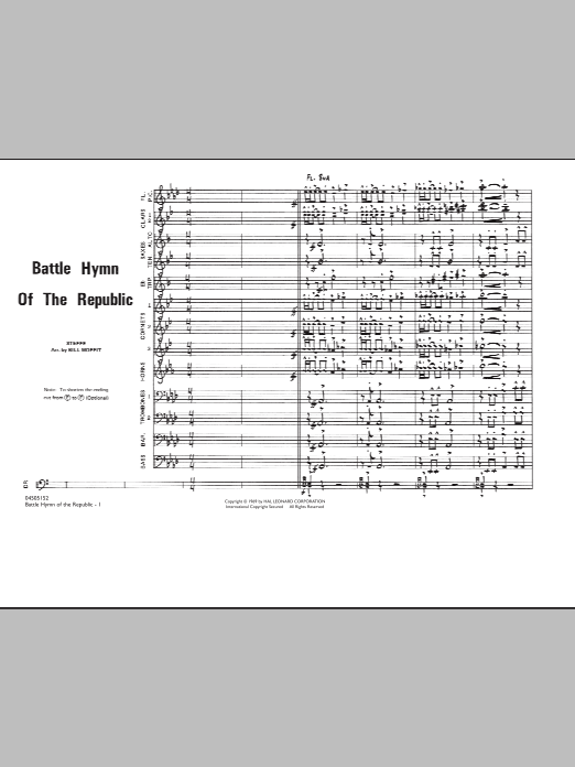 Battle Hymn Of The Republic (COMPLETE) sheet music for marching band by William Steffe, Julia Ward Howe and Bill Moffit. Score Image Preview.