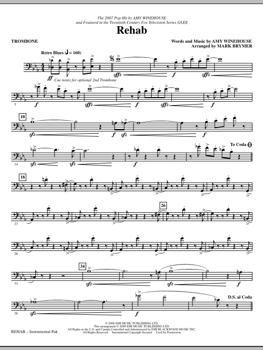 Rehab - Trombone (Choir Instrumental Pak)