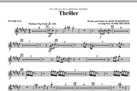 Thriller - Tenor Sax (Choir Instrumental Pak)