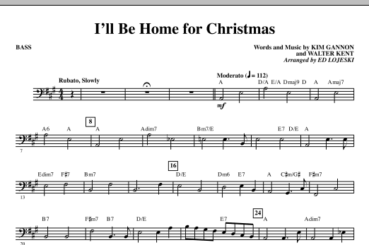 I'll Be Home For Christmas - Bass (Choir Instrumental Pak)