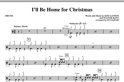 I'll Be Home For Christmas - Drums (Choir Instrumental Pak)