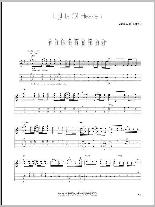 Tablature guitare Lights Of Heaven de Joe Satriani - Tablature Guitare