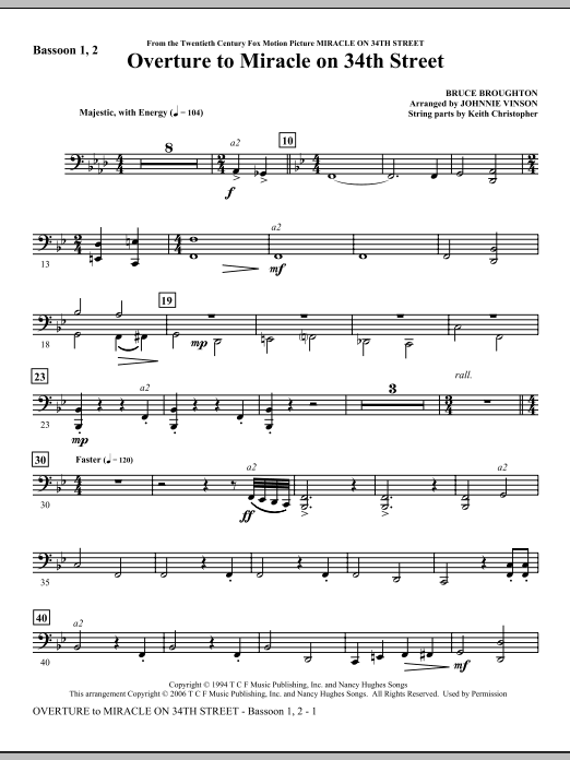 Overture to Miracle On 34th Street - Bassoon 1,2 Sheet Music