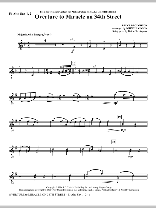 Overture to Miracle On 34th Street - Eb Alto Sax 1,2 Sheet Music