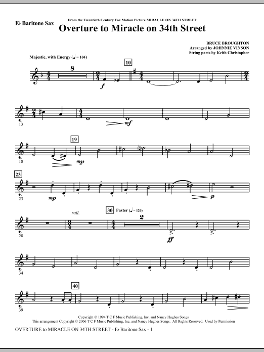 Overture to Miracle On 34th Street - Eb Baritone Saxophone Sheet Music