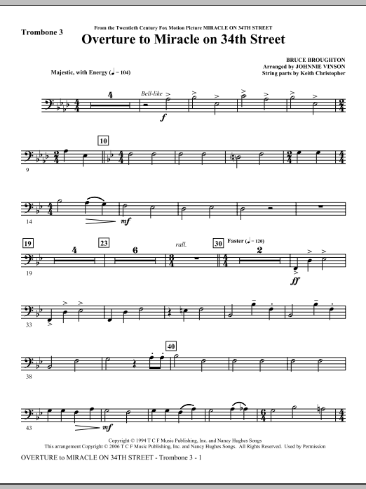 Overture to Miracle On 34th Street - Trombone 3 Sheet Music