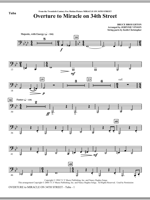 Overture to Miracle On 34th Street - Tuba Sheet Music
