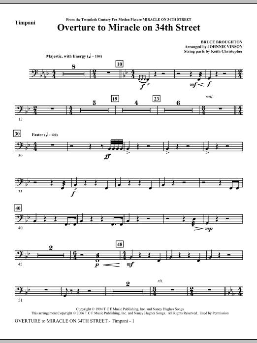 Overture to Miracle On 34th Street - Timpani Sheet Music