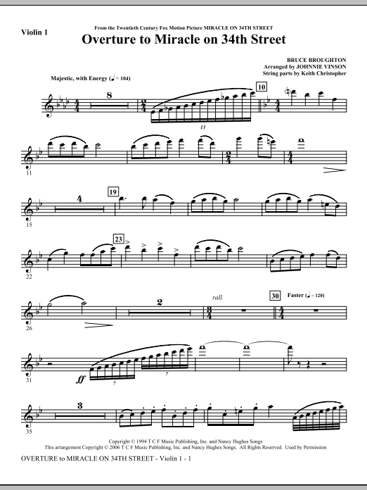 Overture to Miracle On 34th Street - Violin 1 Sheet Music