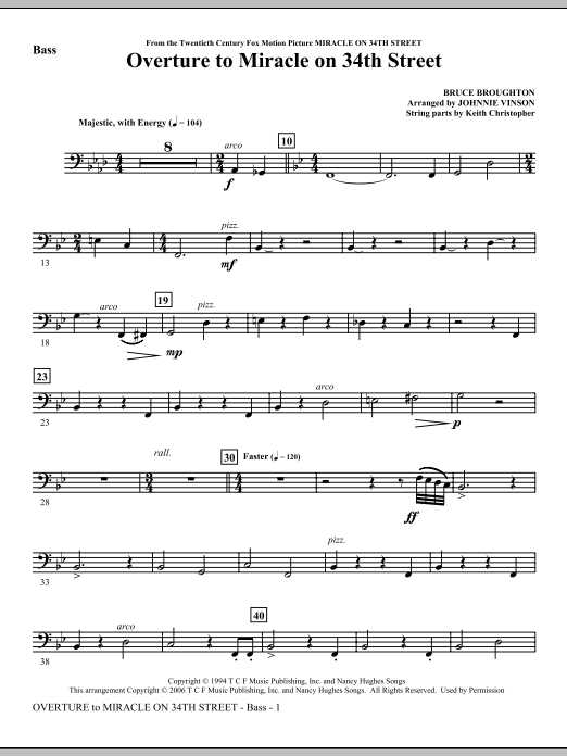 Overture to Miracle On 34th Street - Bass Sheet Music