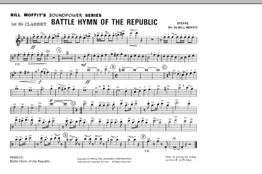 Battle Hymn Of The Republic - 1st Bb Clarinet (Marching Band)