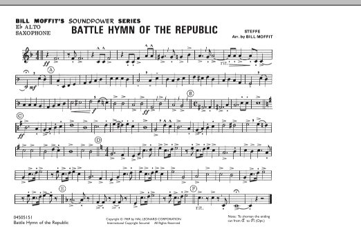 Battle Hymn Of The Republic - Eb Alto Saxophone (Marching Band)