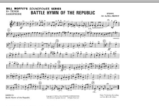 Battle Hymn Of The Republic - Bb Tenor Saxophone (Marching Band)