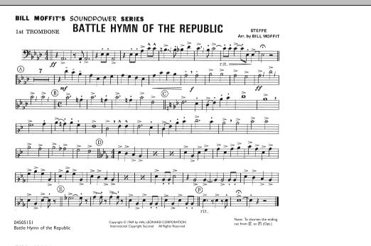 Battle Hymn Of The Republic - 1st Trombone (Marching Band)