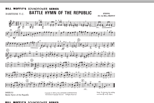 Battle Hymn Of The Republic Baritone Tc Sheet Music To Download