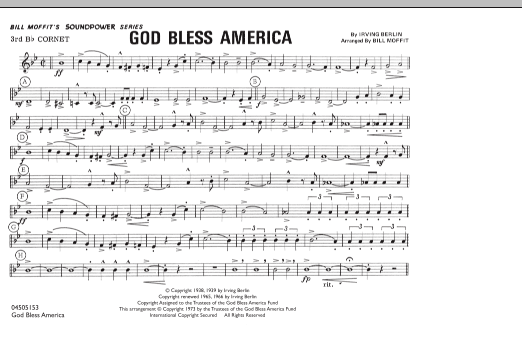 God Bless America - 3rd Bb Cornet (Marching Band)