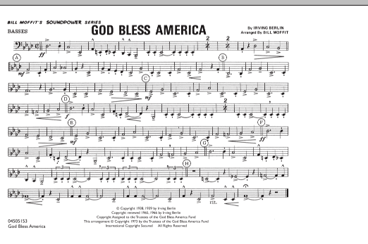 God Bless America - Basses (Marching Band)