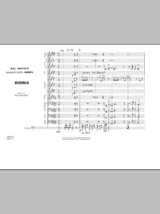 Joshua (COMPLETE) sheet music for marching band by Bill Moffit. Score Image Preview.