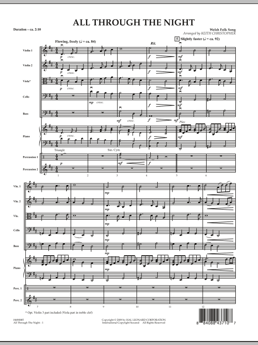 All Through The Night (COMPLETE) sheet music for orchestra by Keith Christopher and Miscellaneous. Score Image Preview.