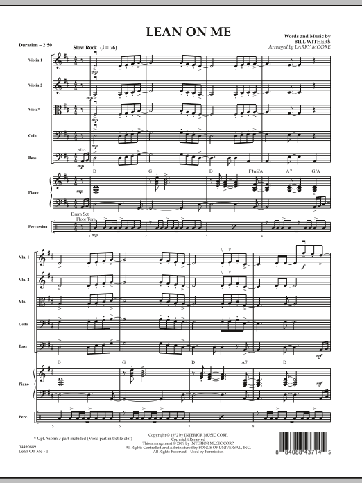 Lean On Me (COMPLETE) sheet music for orchestra by Bill Withers and Larry Moore. Score Image Preview.