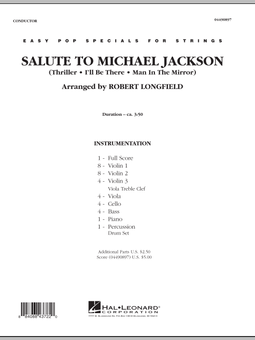 Salute to Michael Jackson (COMPLETE) sheet music for orchestra by Robert Longfield and Michael Jackson. Score Image Preview.