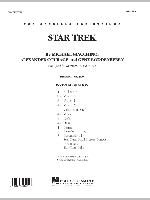 Star Trek (COMPLETE) sheet music for orchestra by Robert Longfield, Alexander Courage, Gene Roddenberry and Michael Giacchino. Score Image Preview.