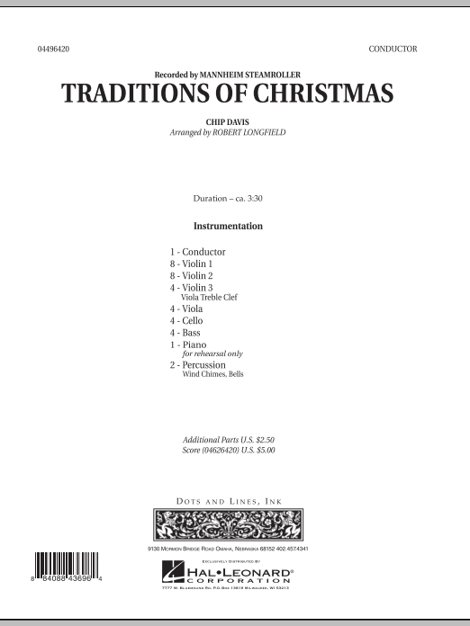 Traditions of Christmas (COMPLETE) sheet music for orchestra by Robert Longfield, Chip Davis and Mannheim Steamroller. Score Image Preview.