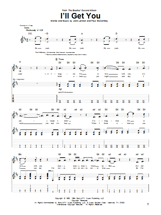 Tablature guitare I'll Get You de The Beatles - Tablature Guitare
