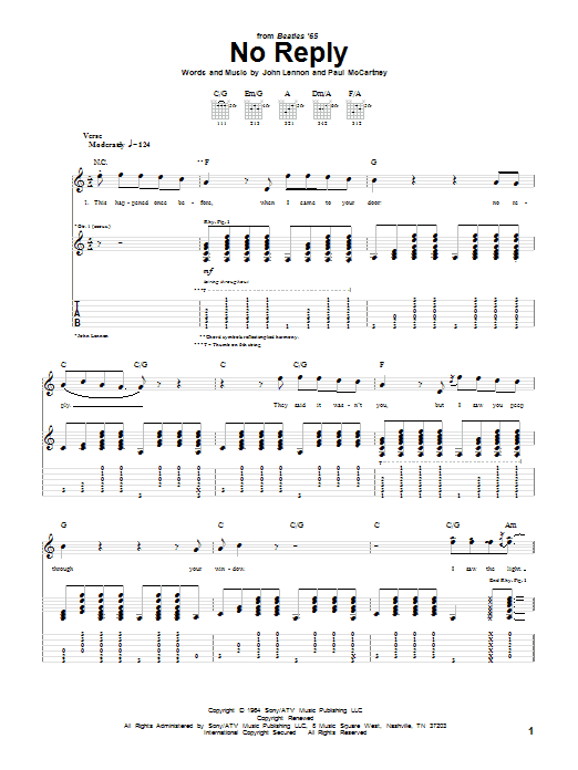 No Reply Sheet Music