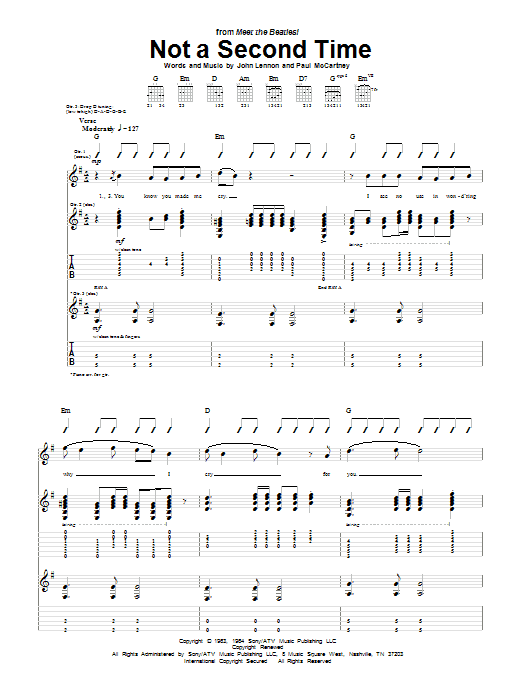 Tablature guitare Not A Second Time de The Beatles - Tablature Guitare