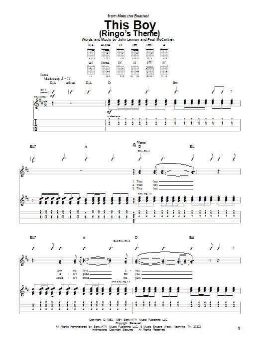 This Boy (Ringo's Theme) Sheet Music
