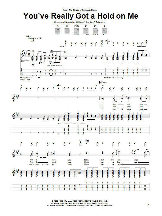 Tablature guitare You've Really Got A Hold On Me de The Beatles - Tablature Guitare