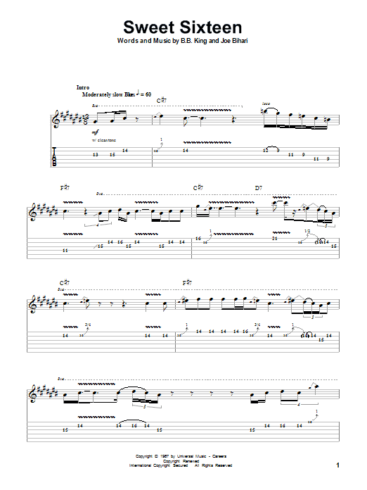 Sweet Sixteen (Guitar Tab (Single Guitar))