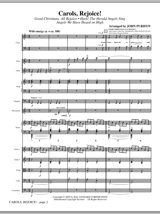 Carols, Rejoice! (Medley) (COMPLETE) sheet music for orchestra/band by John Purifoy. Score Image Preview.