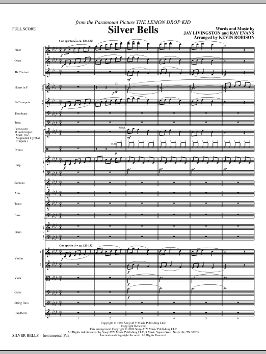 Silver Bells (COMPLETE) sheet music for orchestra/band (Orchestra) by Kevin Robison, Jay Livingston and Ray Evans. Score Image Preview.