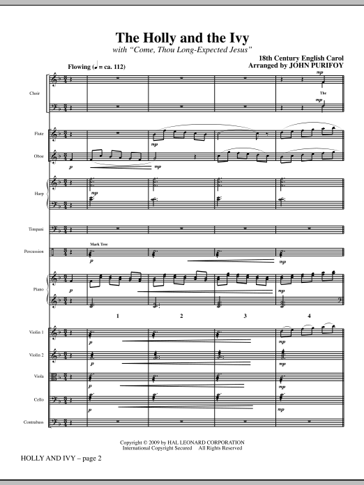 Holly And Ivy (COMPLETE) sheet music for orchestra/band (Orchestra) by John Purifoy and Miscellaneous. Score Image Preview.
