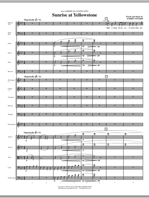 Sunrise At Yellowstone (COMPLETE) sheet music for orchestra/band (chamber ensemble) by Audrey Snyder. Score Image Preview.